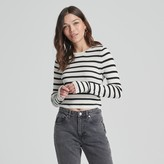 Naadam Striped Long Sleeve Cropped Ribbed Top White and Black