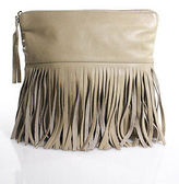 B-Low the Belt Beige Leather Fringe Front Fold Over Design Medium Clutch