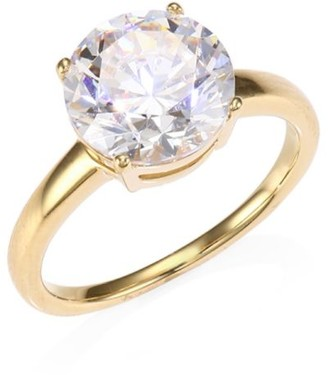 Adriana Orsini 18K Yellow Goldplated Sterling Silver & Round Cubic Zirconia Solitaire Ring