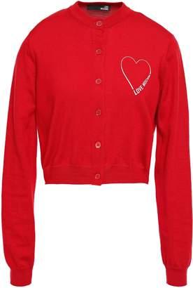 Love Moschino Glittered Printed Cotton Cardigan