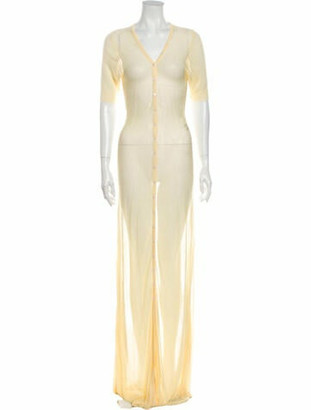 Jacquemus V-Neck Long Dress Yellow