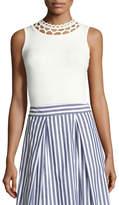 Milly Cutout-Yoke Knit Shell, White