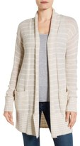 Caslon Stripe Long Open Front Cardigan (Regular & Petite)