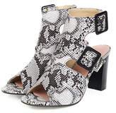 Butiti BUTITI Women's Sandals white - White Snake Double-Buckle Cutout Block-Heel Sandal - Women