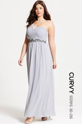 Little Mistress Curvy Grey One Shoulder Embellished Maxi Dress