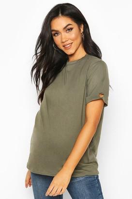 boohoo Maternity Button Turn Up Cuff Boxy Cotton T-Shirt