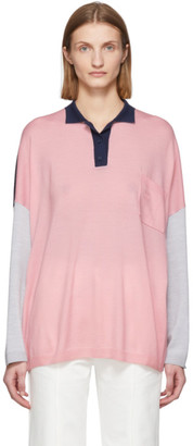 Loewe Pink and Navy Wool Oversized Long Sleeve Polo
