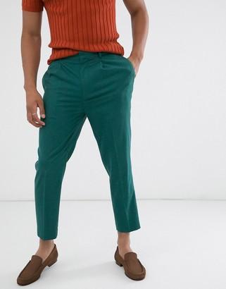 Asos Design DESIGN tapered crop work trousers in dark teal-Blue