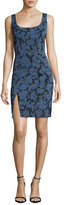 Diane von Furstenberg Sleeveless Tailored Side-Slit Silk Dress, Blue