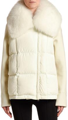 Moncler Mixed-Media Cardigan w/ Fur Collar
