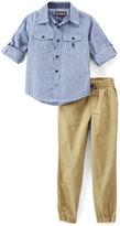 English Laundry Blue Twill Button-Up & Khaki Joggers - Infant, Toddler & Boys