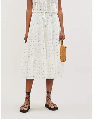 LoveShackFancy Lyla floral-pattern cotton midi skirt