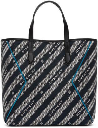 Givenchy Black and Blue Jacquard Bond Shopping Tote