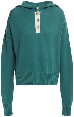 Autumn Cashmere Button-detailed Cotton Hooded Sweater