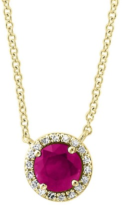 Effy 14K Yellow Gold, Diamond Ruby Mini Pendant Necklace