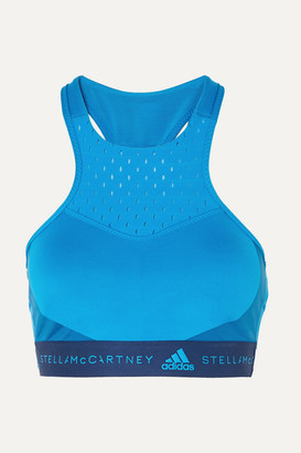 adidas by Stella McCartney Fitsense Mesh-paneled Climalite Sports Bra - Blue