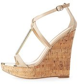 Charlotte Russe Gold-Trim T-Strap Wedge Sandals