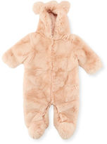 Adrienne Landau Hooded Fur Snowsuit, Size 3-12 Months