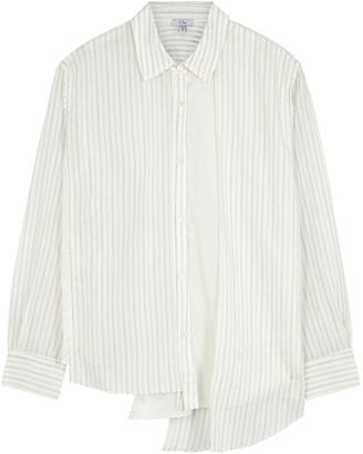 Clu Striped panelled asymmetric shirt