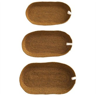 Creative Co-op Oval Seagrass Trays Set Of 3