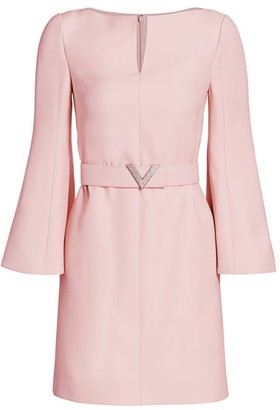 Valentino Wool & Silk Crepe Trumpet-Sleeve Dress