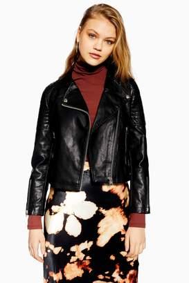 Topshop Womens Petite Black Pu Leather Biker Jacket - Black