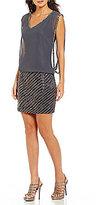 J Kara V-Neck Blouson Beaded Dress