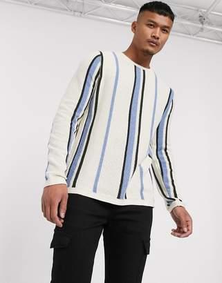 Asos Design DESIGN jumper in vertical stripe in ecru-Cream