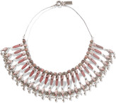 Etro Silver-plated, rhodonite and mother-of-pearl necklace