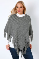 Yours Clothing Grey Cable Knitted Poncho With Tassels