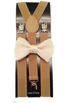 MXI Designs Awesome Suspender and Beige Hemp Bow tie Set