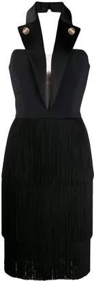 Elisabetta Franchi halter-neck fringed dress