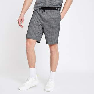River Island Mens Grey slim fit check shorts