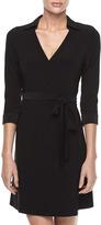 Julie Brown JB by Milo Spread-Collar Wrap Dress, Black