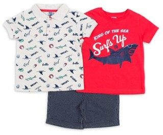 Little Lad Baby & Toddler Boy Short Sleeve Henley Shirt, T-shirt & Shorts, 3pc Outfit Set