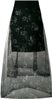 Schumacher Dorothee tiered floral printed sheer skirt