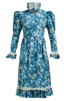 Batsheva Ruffled Floral-print Cotton Dress - Womens - Blue Multi