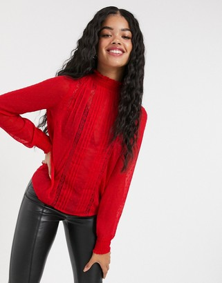Pimkie high neck lace detail blouse in red
