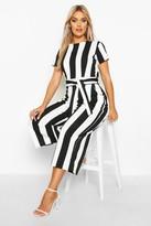 boohoo Plus Stripe Cap Sleeve Tie Waist Culotte Jumpsuit