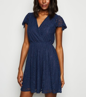 New Look Mela Lace Wrap Skater Dress