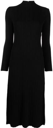 Vince Ribbed-Panel Mock-Neck Dress