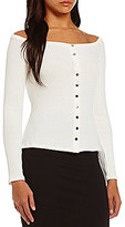 GUESS Charline Long Sleeve Button Front Top