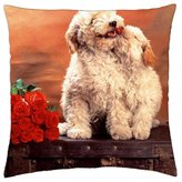 """iRocket - Dogs in Love - Throw Pillow Cover (14"""" x 14"""", 35cm x 35cm)"""