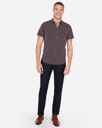 Express Slim Wrinkle-Resistant Micro Diamond Print Performance Short Sleeve Shirt