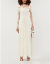 RED Valentino Floral-lace panelled point d'esprit tulle maxi dress