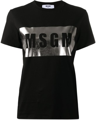 MSGM metallic box logo T-shirt