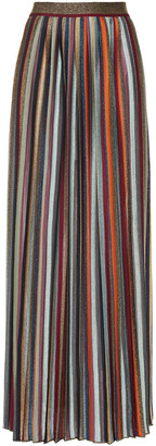 Missoni Pleated Striped Metallic Knitted Maxi Skirt