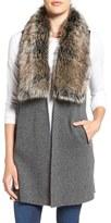 Splendid Women's Wool Blend Vest With Faux Fur Trim