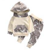 honeys Baby Boy Girl 2pcs Christmas Suit Hoodies Deer Print Long Sleeve Top+Long Pants (6-12months, )