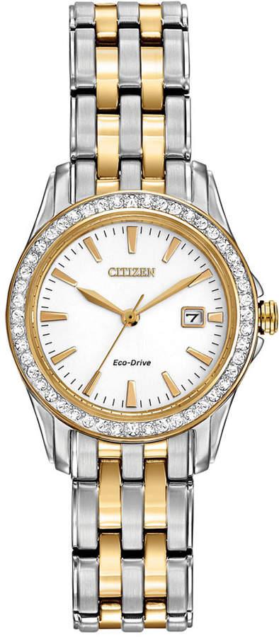 Citizen Women's Silhouette Crystal Eco-Drive Two-Tone Stainless Steel Bracelet Watch 28mm EW1908-59A